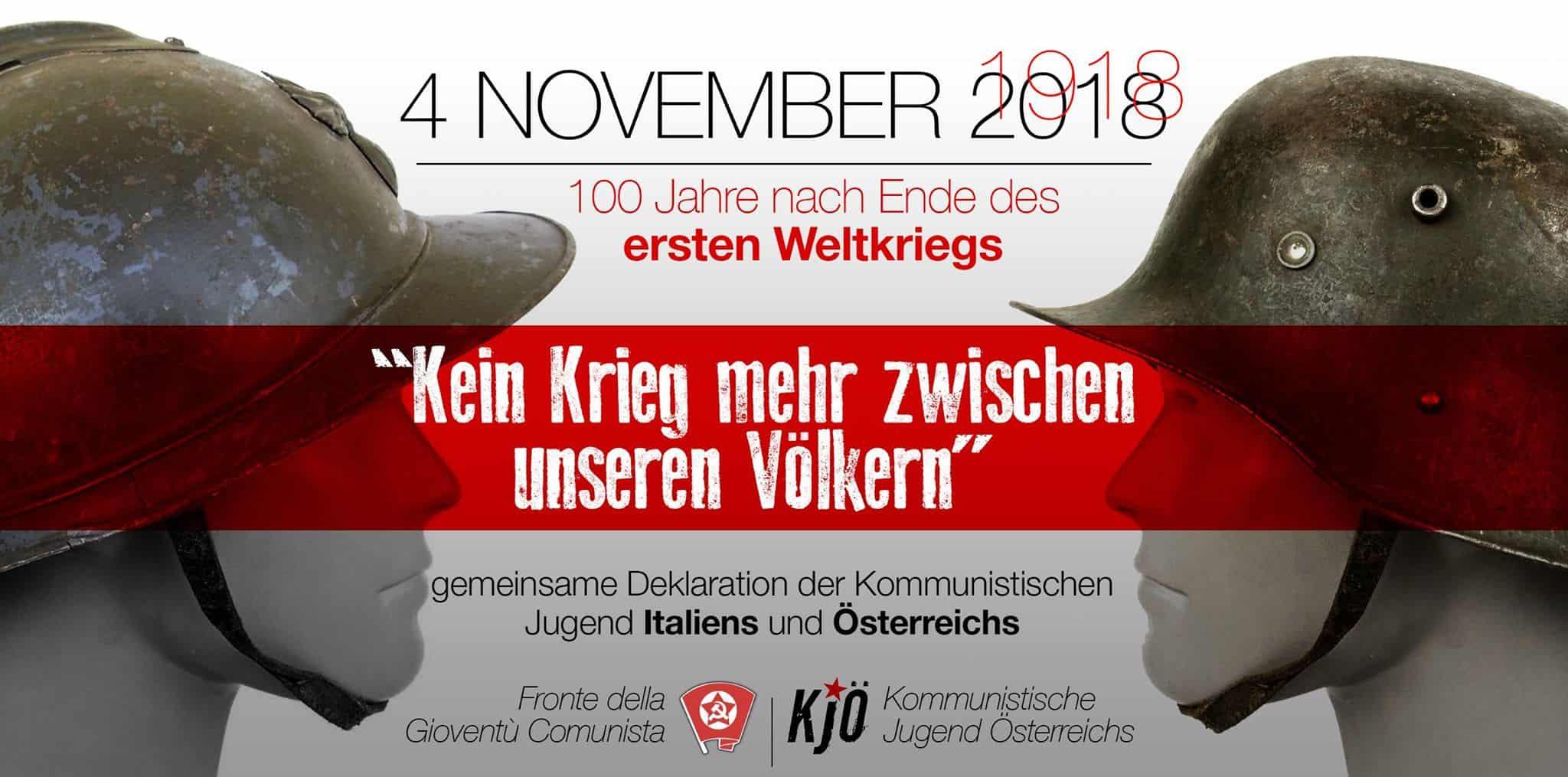 """Gemeinsame Deklaration der Kommunistischen Jugend Italiens und Österreichs unter dem Motto """"Kein Krieg mehr zwischen unseren Völkern"""""""